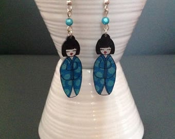 Kokeshi born shrink plastic earrings.