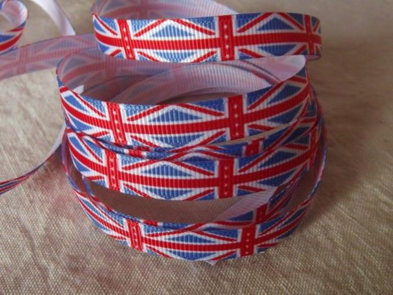 R61 - English flag - 10 mm - 1 m grosgrain Ribbon