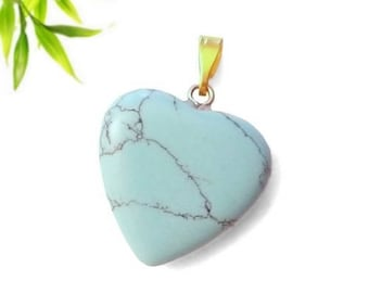 Heart pendant plated gold - turquoise