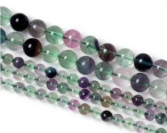 10 x 5 mm Rainbow fluorite round bead