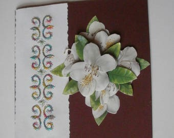 21 - Embroidered card with 3d white flower