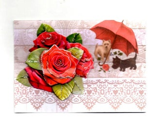 317 - Card greeting camelia and small dogs
