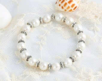 Wedding jewelry silver plated glass bead bracelet