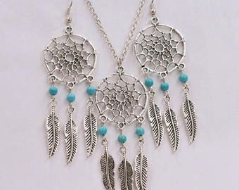 pretty Necklace Earring dream catcher turquoise beads