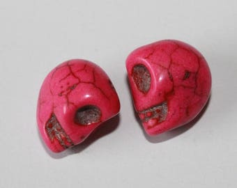 Skull, pink, 12 mm, the pair