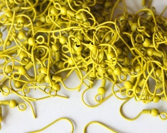 Earring yellow American hook, 6 pieces