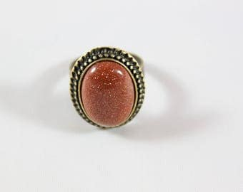 Adjustable ring cabochon, bronze metal and red gold stone gemstone