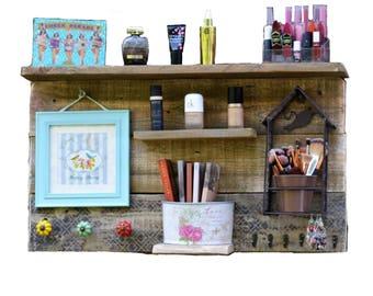 Put Makeup, Put Jewelry, Bohemian Decor, Put Makeup Customizable Wall Shelf  Bathroom Vanity