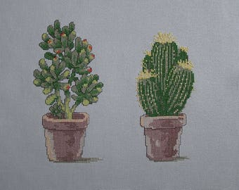 Green cactus embroidery