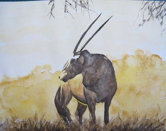 Watercolor of a gemsbok in shades of Brown and Tan