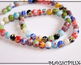 SET of 65 beads Millefiori glass Ø 6 mm m2242
