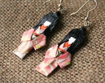 Geisha #1 Japanese origami paper earrings