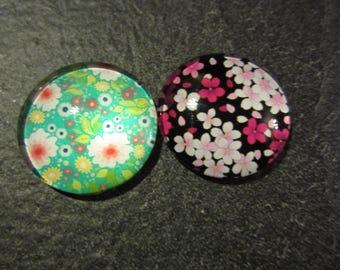 set of 2 cabochon 2.3 floral cm