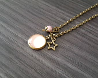 Necklace Cabochon pink star