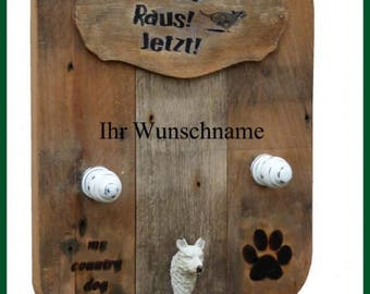 MCD my country dog dogs wardrobe linen holder-with name old oak natural