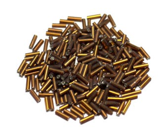 500pc env - glass beads - 7x2mm Brown Bronze gold Tubes - 8741140023499
