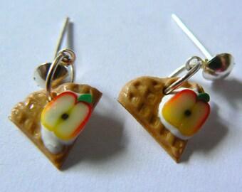 Earrings embossed cane Fimo Stud Earrings with Apple slice