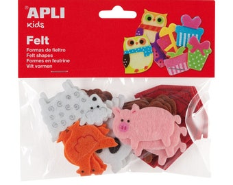 "18 assorted shapes ""Animals"" - APLI Kids - Ref 13785 felt"