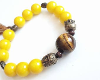 Tiger eye and glass Pearl elastic bracelet