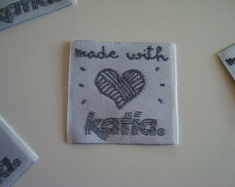 """""""Applique label to sew""""Made with love""""Katia"""" 3 x 3 cm black on white background"""