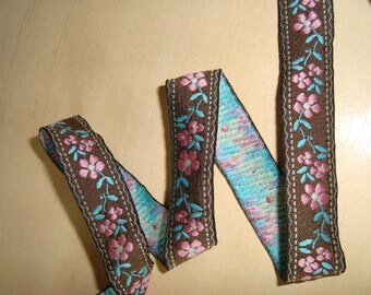 170 cm of Ribbon pattern pink and green flower on Brown background - width 1.5 cm