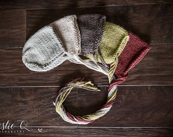 Knit Newborn Baby Bonnet, Knit Newborn Hat, Knit Hat, Newborn Prop, Photo Prop, Muted Colors, Knit Baby Bonnet, Knit Baby Hat, 5 COLORS