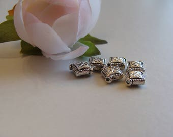 Antique silver Rhombus 8 * 10 mm beads
