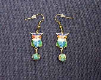 Blue cloisonne beads and OWL earrings