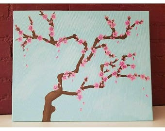 Cherry Blossom Tree Painting, 16x20, blossoms, pink flowers painting