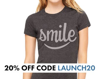 Our Original Smile Womens TShirts in Charcoal Black Gift for Her Gift for Mom Screen Printed Mothers Day Gift for Wife