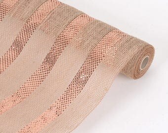 """21"""" Wide x 6 Yards Long Natural Burlap Fabric (Table Runner, Ribbon, DIY Craft, Fabric, or Weddings) with Copper Metallic Stripe"""