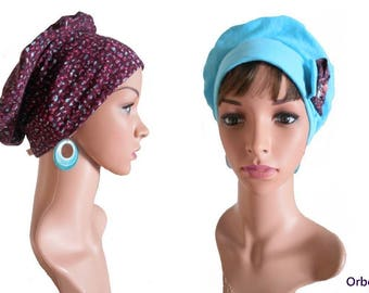 """REVERSIBLE beret """"Monica"""" & its removable fabric flower"""