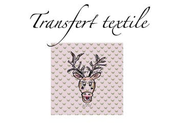 Textile transfer butterflies deer ° ° square 7cm Jul and wire design