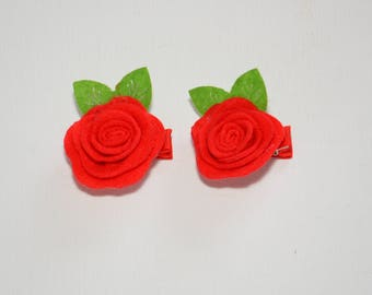 Beautiful Flower with leaves hair clips