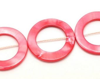Set of 20 dyed mother of pearl beads, red, 30mm (18mm inside)