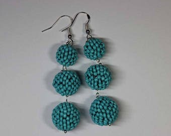 Beaded Ball Dangle Earrings Women Fashion New Style Triple Drop Beaded Ball Earrings