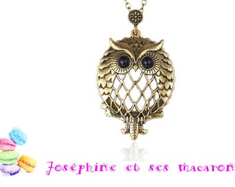 1 gold plated pendant and glass magnifying glass OWL