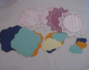 Set of 16 cuts, dies, clouds, square, doilies, scrapbooking