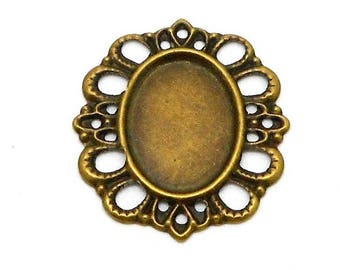bronze color support for 18X13mm cabochon