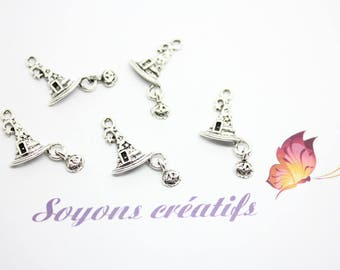 10 charms Charms silver Wizard - SC28920 - Halloween witch Hat
