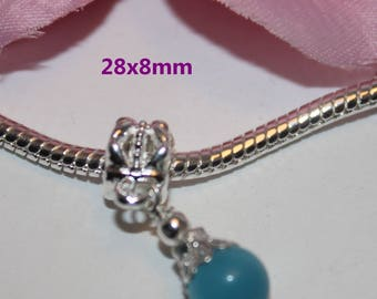 1 silver bead for pandor style light blue cat's eye has - SC08260-
