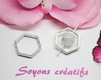 5 beads silver Hexagon 21x18mm - SC0099389 frames-