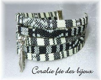 multi strand Ribbon Cuff Bracelet ethnic bracelet charm plucks