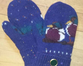Medium Adult mittens - handmade from recycled wool sweaters.  Fleece lined.