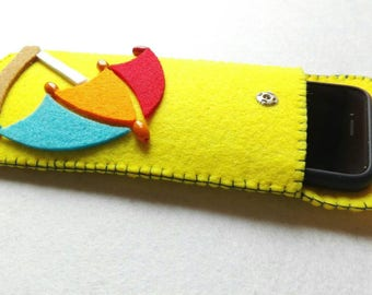 Yellow felt cell phone case with colored parasol yellow felt cell phone case with colored umbrella