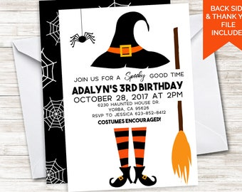 Witch Birthday Invite Halloween Invitation 5x7 Digital Kids Broom Spider Kids Girls