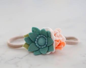 Succulent and Peach Petite Flower Cluster // Headband or Clip // Felt Flowers