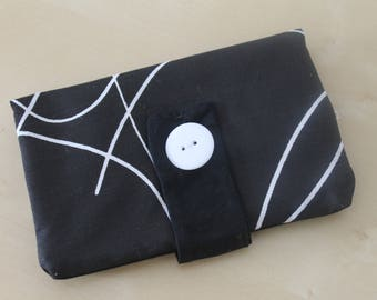 Tobacco pouch in black and white fabric