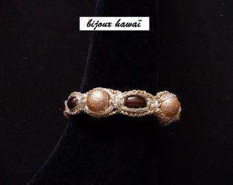 Cotton Brown & gold Shambala bracelet