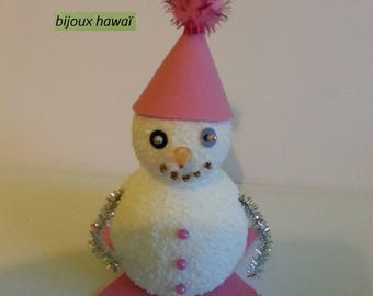 Pink and white snowman